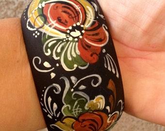 Norwegian Rosemaled Cuff Bracelet OOAK
