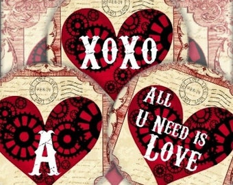 All U Need Is Love Steampunk Valentine 1 in Circle Digital Collage Sheet monogram bottlecaps pendant ring domes round bubbles Uprint 300jpg