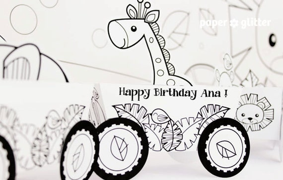 Animal Jungle Train Coloring Pages  Party Favor Box Truck &  Paper Craft Toy - Editable Text Printable PDF 0137