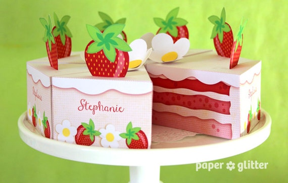 Strawberry Shortcake Paper Cake Slice in REDS favor baking party box printables - Editable Text Printable PDF