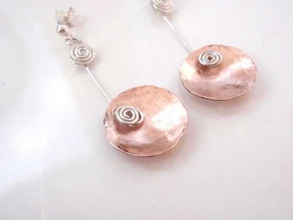 Copper Disc Earrings with Sterling Silver, Abstract
