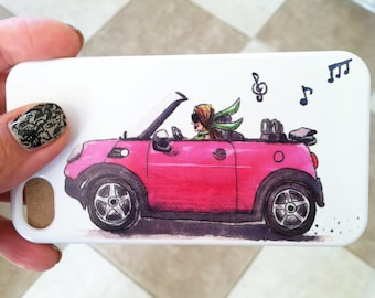 Pink Mini Cooper watercolor and ink Illustration phone case
