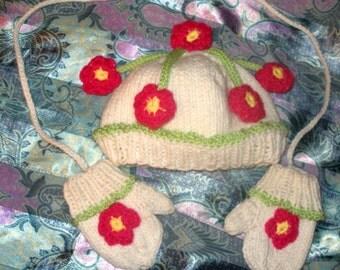 Flower Child Hat & Mittens Set