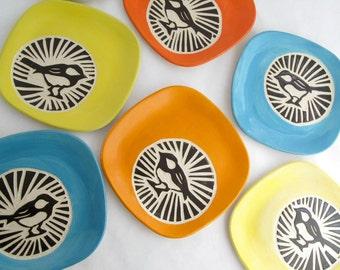 Chickadee Circle Plate - Turquoise