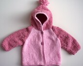 Pink / Dusty Pink Chenille Hooded Cardigan