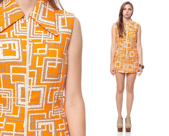 60s Mod Dress Micro Mini Geometric Gogo Orange Space Age
