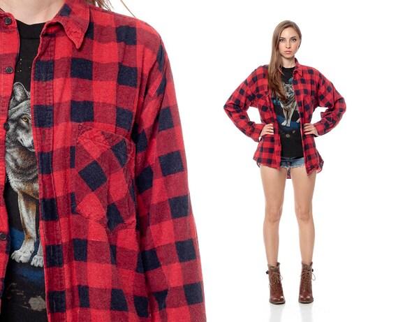 Buffalo Plaid Shirt 90s Flannel Red Black Checkered Grunge