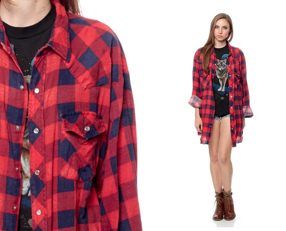 Oversized Plaid Shirt 90s Grunge Pearl Snap Red Blue Buffalo