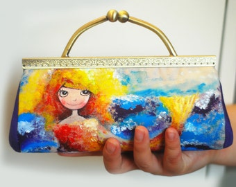 Sale Hand painted mermaid clutch (ONE OF A KIND)