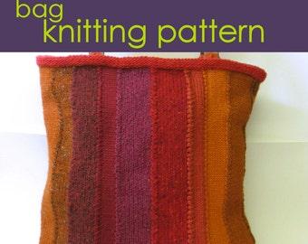Panel Tote Bag Knitting Pattern PDF