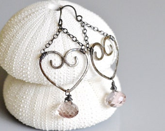 Sterling Heart Mystic Pink Quartz Earrings - Sterling Silver - hand forged, hand fused, hammered, oxidized - Valentine's Day