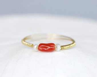 Natural Red Coral Ring - 14k Gold Filled wire wrapped, Freshwater Pearl, Italian, Mediterranean, dainty, mini, branch, polished