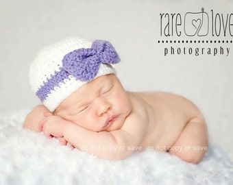 Baby Girl Beanie, Baby Girl Hats, Newborn Baby Hats, Newborn to 24 mnths, Hat with Bow, Crochet Baby Hats, Baby Girl Hats