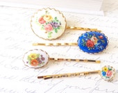 As Seen In Smitten Magazine - On The Vine - Vintage Cameo Hair Pin Set - Bobby Pin Set - Vintage Floral Limoges - Flower Hair Pins
