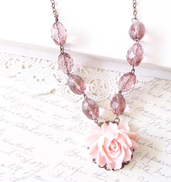 50% OFF - Rose Blossom - Beaded Flower Necklace - Crystal - Pink Rose