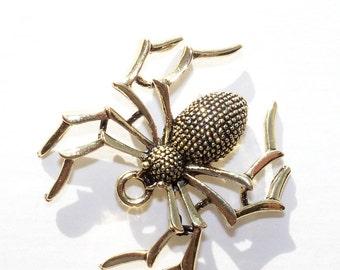 Halloween Spider Pendant, Bronze Metal Spider Pendant - 1 3/8 inches - set of 2