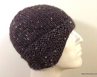 Mens Knit Earflap Hat in Baby Alpac a Brown Tweed, Warm Handknit Watch