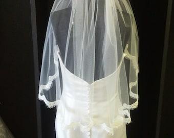 Delicate French Lace Elbow Wedding Veil With Eyelash Trim