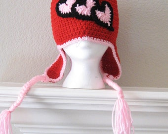 Ready to Ship Crochet Red Toboggan for Girls With Pink Hearts Valentine Child Hat Beanie with Braids Crocheted Handmade New