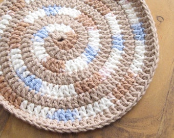 Handmade Crochet Cotton Baby Bib Swirly Brown and Blue