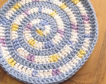 Handmade Crochet Cotton Baby Bib Swirly Blue and Yellow