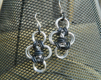 Japanese Cross Earrings in Silver and Black