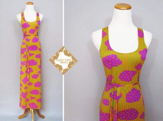 Vintage dress / 1970s maxi dress / bright pattern dress / stretch dress /   orange, green and purple small