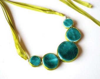 Statement Bubble necklace turquoise lime green ceramic jewelry