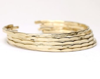 5 Thin Ophelia Cuffs, yellow gold filled, custom size, handmade stacking cuffs with free US shipping