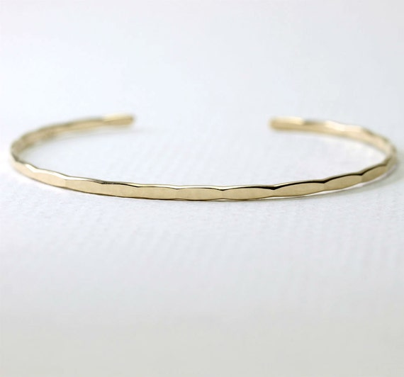 Thin Ophelia Cuff, yellow gold filled, custom size, handmade stacking cuff