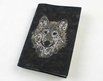 Wolf Paperback Book Cover, Matte Finish - Mass Market OR Trade Size Machine Embroidered, Masculine