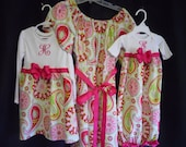 Boutique Mommie Infant Gown set and Sister dress set with matching hairbows great for coming home outfits and great for picutres