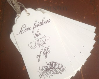 Love Feathers the Nest of Life Tags- Set of 10