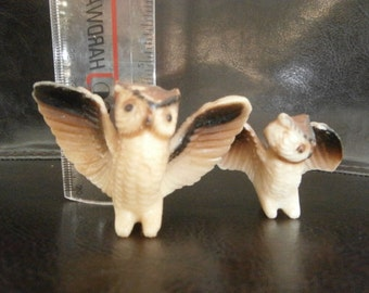 Owls Two -Tiny Little Glass Owl's Ceramic Bone China Miniature Figurines Porcelain Hoot Owls