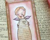 Angel Bookmark/ Reading Gift/ Book Mark/Hand Coloured Vintage Style Kraft Bookmark