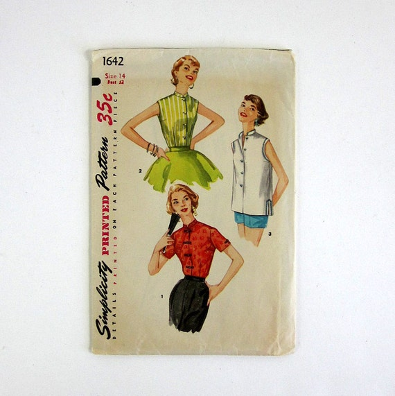 reserved for junie // Misses Size 14 Mandarin Collar Blouse 60s Simplicity Pattern 1642 / bust 32 waist 26 / Complete
