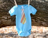 SALE // Baby Boys Clothing // Bright Aqua Onesie with a Striped Tie Applique // Size 12-18 months // Boys Tie Onesie