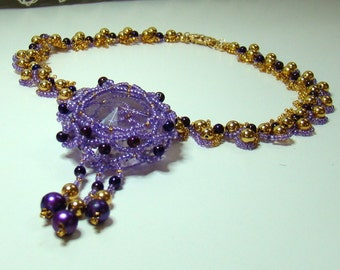 Faberge Easter Necklace , purple, gold, mauve, fresh water pearls, beadweaving