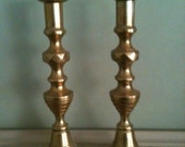 Gorgeous Antique Brass Beehive Candlesticks England Push Up Design