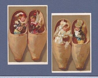 1890s French Scrapbook Card Set  Wooden Clogs Courtship and Wedding