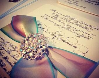 "Wedding Calligraphy Invitation Letterpress on Duplex Love No.2  ""Donwell Abbey"""
