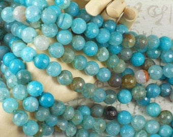 10 Fire Agate Beads Turquoise & Caramel 10mm Disco Faceted Round Gemstone (5074 -10)