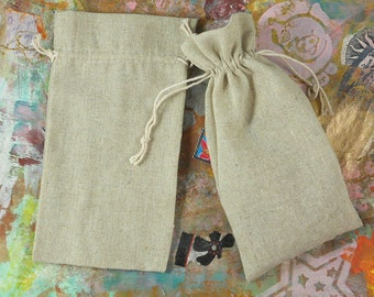 """Clearance sale 12 Natural Linen Gift Bags 3"""" x 4"""" Space to Hold Wedding Favor Candy Sacks Jewelry (B38)"""