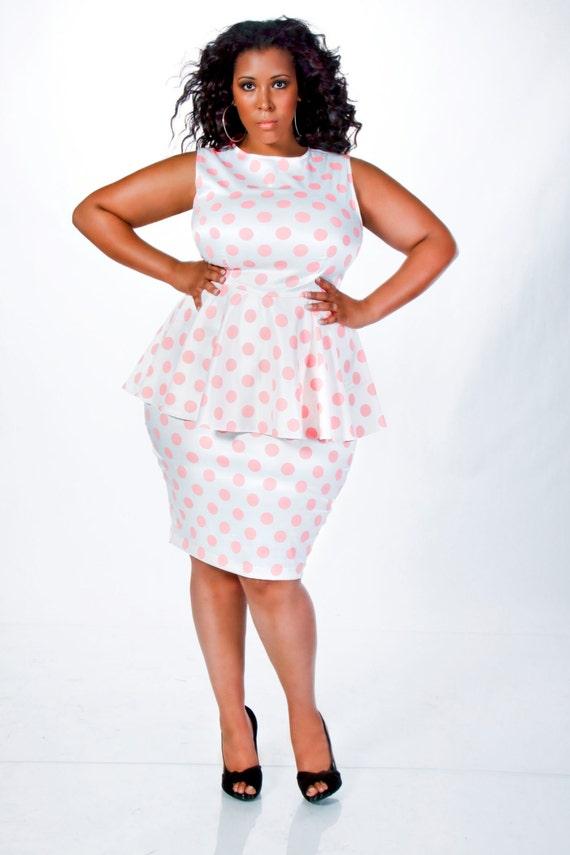 417d49e977ed4c JIBRI Plus Size Polka Dot Peplum Dress by jibrionline on Etsy