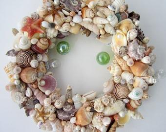 Beach Decor Seashell Wreath - Nautical Decor Shell Wreath w Starfish, Fully Covered