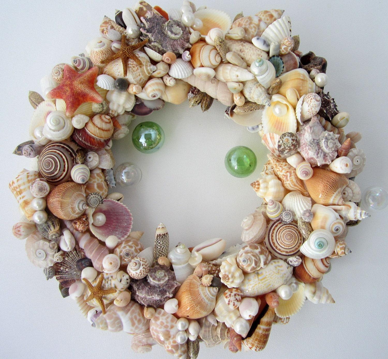 Beach decor seashell wreath nautical decor shell wreath for Seashell decor