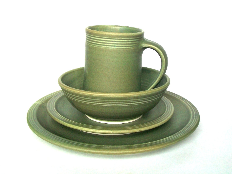 Olive Green Handmade Dinnerware Set 4 Place Stoneware