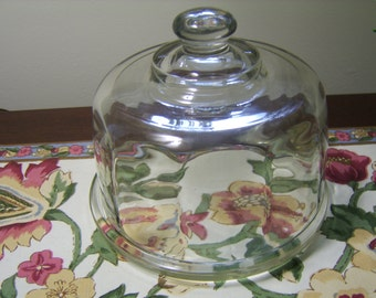 1940s Vintage / Antique Glass Dome with  Butter / Cheese Plate