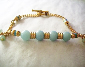 Bar Bracelet, Amazonite, Goldtone Metals, Boxy, Bendable, Handmade