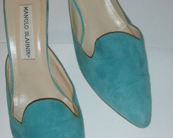Manolo Blahnik Vintage Lambskin Suede Mules in Seafoam Green sz American 8M